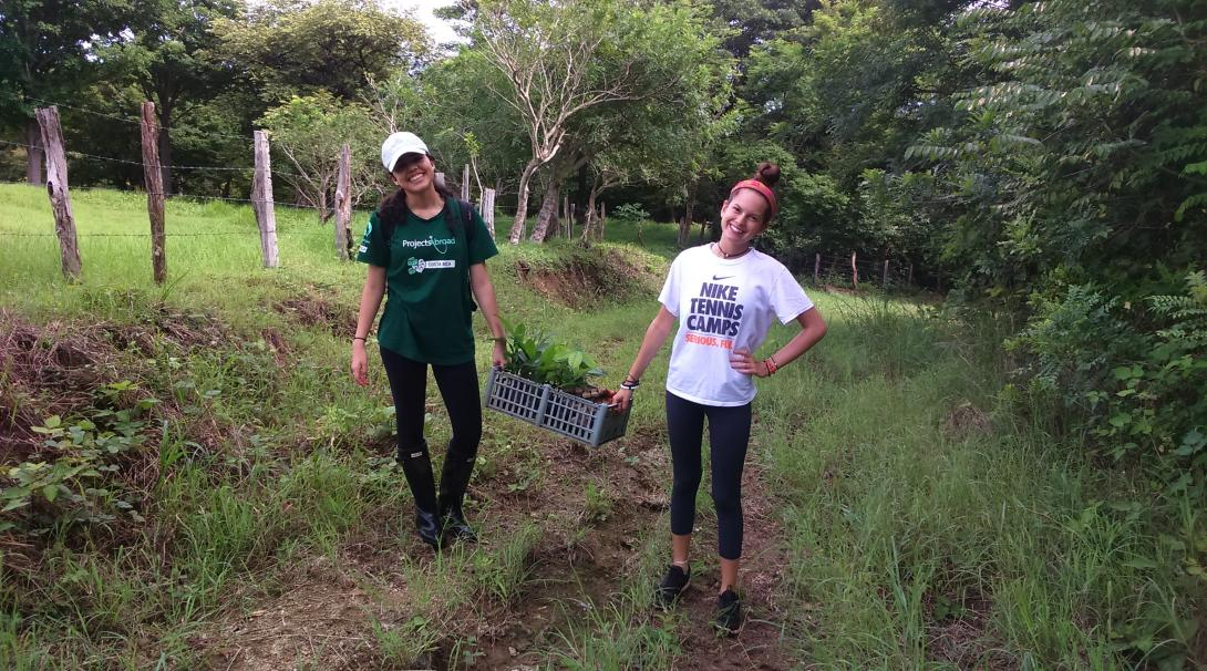 Conservation volunteers take part in a reforestation initiative in Barra Honda National Park.
